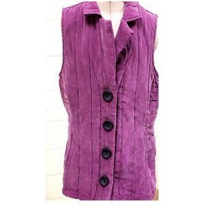 HABITAT Soft Quilted Purple Button Down Vest Med